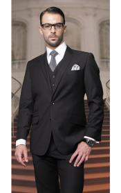 Lapel Two Buttons Side Vented Vested No Pleated Pants Solid Black 3 Piece Suits Regular Fit Pick