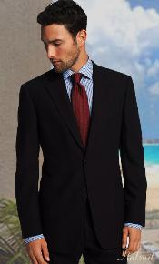 BUTTON SOLID COLOR BLACK MENS SUIT Side VENT BACK JACKET STYLE