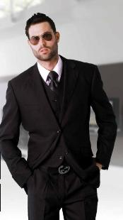 Classic 3 Piece Super 150s Extra Fine Italian Fabric 2 Button Black Tone on Tone Suit