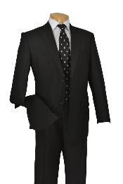 Poly-rayon Executive Pure Solid Black Suit Notch Collar Pleated Pants