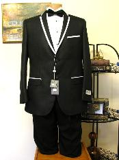 Black 2 Button Trimmed Lapel Tuxedo Jacket and Pant for Men