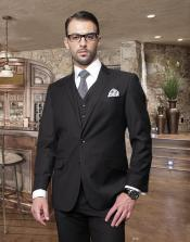 Button Black Suit with a Vest Super 150s Italian Wool Pick Stitched Lapel Slanted Pocket