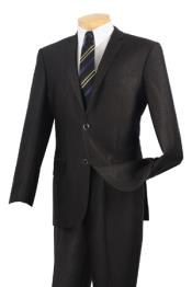 Single Breasted 2 Buttons Slim Fit Suits Black