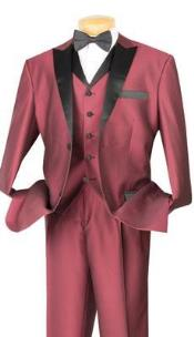 toned Shiny Sharkskin Flashy 2 Button Peak Lapeled Vested 3 Piece Mens Suits or Tuxedo Wine With