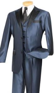 Blue With Black Shiny Sharkskin 2 Button Peak Lapeled Vested 3 Piece Vinci Mens Suit / Flashy