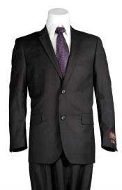 Trim Fit Windowpane 2 Button Mens Slim Cut Suit Black