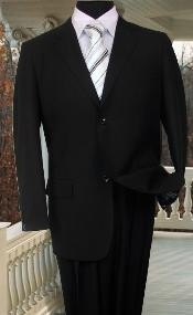 MENS SOLID COLOR BLACK SUIT 2 BUTTON HAND STITCHING