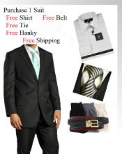 Two Button Wool Black Suit- Dress Shirt Free Tie & Hankie Package Combo ~ Combination