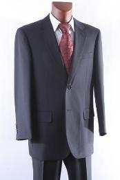 Black 2 Button Wool Suit Single Pleat Pant