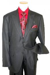 Classic Collection Solid Black Super 120s Merino Wool & Silk Suit