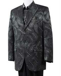 3 Piece Fashion Unique 2 Button Tuxedo  Suits Black Paisley Blazer Looking Trimmed Pleated Pants Vested