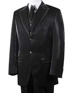 Unique 2 Button Trimmed Pleated Pants Vested 3 Piece Mens Suits Black