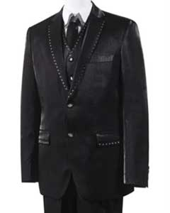 Black Unique Trimmed Pleated Pants Vested 3 Piece Suits
