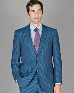 Mens Three Piece Suit - Vested Suit Light Blue Pinstripe - Indigo