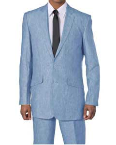 Mens 2 Piece Luxurious 100% Linen Suit 2 Buttons Blue