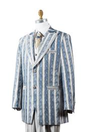 Unique Blue - Artistic Stripe ~ Pinstripe  2 Button Tuxedo Vested 3 Piece Fashion Suit Trimmed