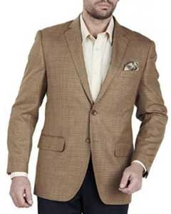 Solid 2 Button 100% Wool Blazer With brass buttons Mens Jacket SportCoat Camel Tweed
