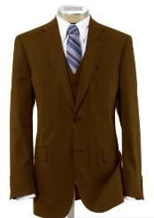 2 Button Wool Vested Brown Suit with Pleated Trousers