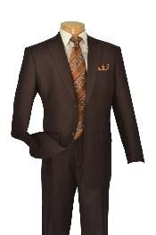 Poly-rayon Executive Pure Solid Brown Suit Notch Collar Pleated Pants