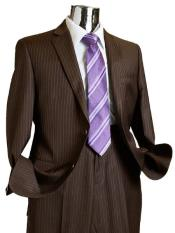 Suit Separate Mens 2 Button Rayon Fabric Suit Dark Brown Pinstripe