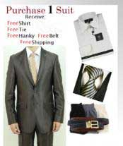 Two Button Brown Slim Fit Teakwave Suit-Dress Shirt Free Tie & Hankie Package