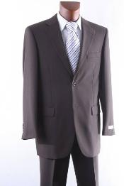 2 Button 100% Wool Suit W Single Pleat Pants Brown
