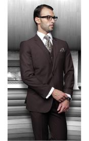 Lapel Two Buttons Side Vented Vested No Pleated Pants Solid Brown 3 Piece Suits Regular Fit Pick