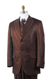 Button Unique 3 Piece Mens Brown Tuxedo Trimmed Pleated Pants Vested Suits