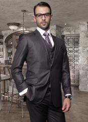 Button Solid Color Heather Charcoal Mens Suit