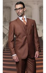 Mens Copper Two Buttons Vested Wool Tailored Fit Suit