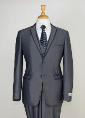 3 Piece Slim Cut Suit - Contrast Trim & Adjustable Waist