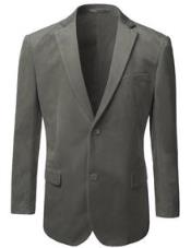 Velvet Blazer - Mens Velvet Jacket Mens American Regular-Fit 2 Button Gray