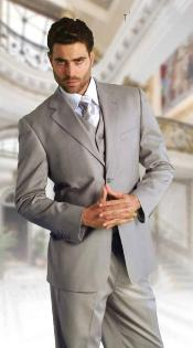 Classic 3 Piece Super 150s Extra Fine Italian Fabric 2 Button three piece suit Grey
