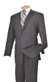 Poly-rayon Executive Pure Solid Gray Suit Notch Collar Pleated Pants