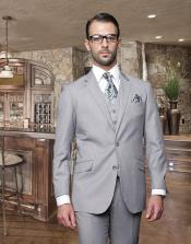 Button Light Gray ~ Grey Suit With A Vest Super 150S