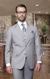 2 Button Solid Color Gray Mens Suit with a Vest 3