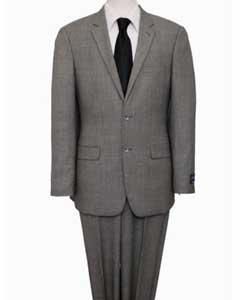 Price $795 ZeGarie Authentic 100% Wool Suit 2 Button Side Vent Jacket Flat Front Pants Glen Plaid