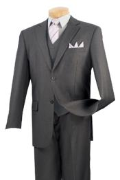 Solid Color 2 Button No Pleat 3 Piece Suit – Dark Gray