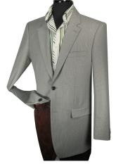 Mens 100% Wool Taylor Fit Blazer - Side Vents Grey Tic Weave