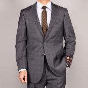 Side Vented Jacket & Flat Front Pants Grey Plaid Two-Button Suit
