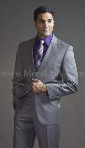 Button 3 Piece Light Grey Fitted affordable suit online sale -