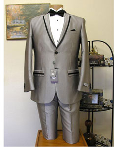 Mens Grey ~ Gray Slim Cut 2 Button Trimmed Lapel Tuxedo Jacket