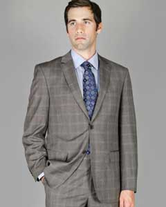 Grey Windowpane 2-Button Wool and Silk Blend Suit