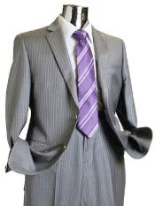 Separate Mens 2 Button 100% Wool Suit Medium Grey Pinstripe ~