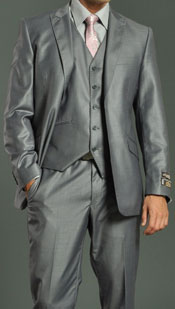 Two Button Vested Shiny Flashy Metallic Light Grey NOTCH LAPEL Slim