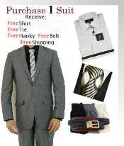 Button Light Grey Suit Slim Fit- Dress Shirt Free Tie & Hankie Package