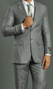 Mens Two Buttons Light Grey Stripe ~ Pinstripe Suit No Pleated Pants Side Vent Regular fit
