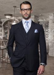 2 Button Solid Color Dark Navy Mens Suit with a Vest