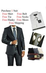 Mens 2 Piece Two Button Dark Navy Suit- Dress Shirt Free Tie