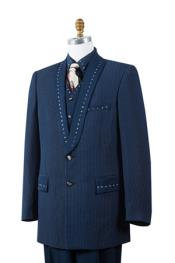 Unique 3 Piece Sharkskin Fashion Suit Navy - RhineStone 2 Button
